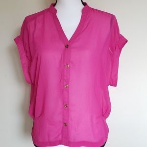 Topshop hot pink blouse short sleeve size 6